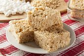 pic of crispy rice  - Homemade Marshmallow Crispy Rice Treat in bar form - JPG