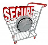 stock photo of combination lock  - A shopping cart with the word Secure inside it and a combination lock symbolizing the protection provided by a website with security measures enacted - JPG