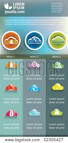 Cloud infographic banner design. clouds icons for infographics.