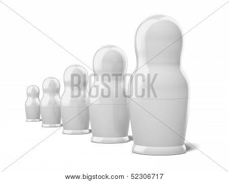 set of blank white dolls