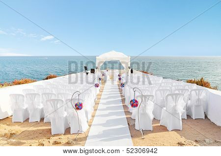 Beautiful Decorations For The Wedding Ceremony When. On The Shore Of The Sea.