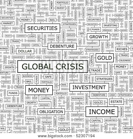 GLOBAL CRISIS. Background concept wordcloud illustration. Print concept word cloud. Graphic collage with related tags and terms. Vector illustration. Seamless pattern.