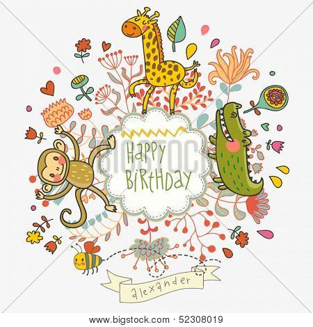 Cute childish card with Crocodile, Monkey and Giraffe in vector. Happy birthday invitation background in bright colors