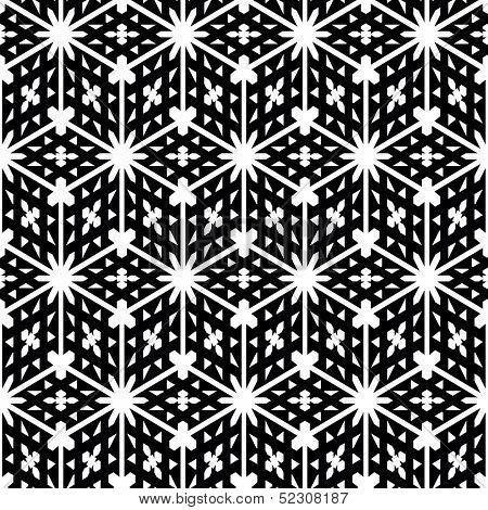 Vector illustration of seamless black-and-white geometric pattern. Seamless pattern of geometric shapes. Geometric vector background.