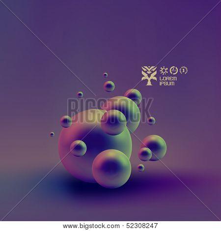 Vector random spheres background. 3D vector illustration.