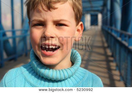 Shouting Boy On Bridge