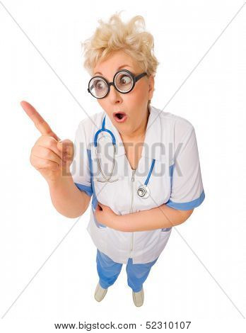 Mature funny doctor in nerd glasses isolated