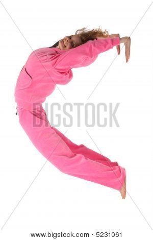 Girl In Pink Clothes Represents  Letter C