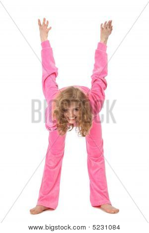 Girl In Pink Clothes Represents  Letter H
