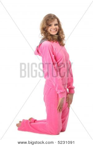 Girl In Pink Clothes Represents  Letter J