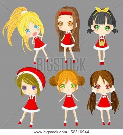 Cute Sprite Santa Girls Set (vector)