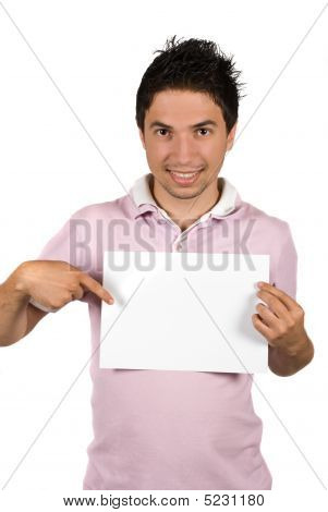 Young Man Pointing To A Blank Page