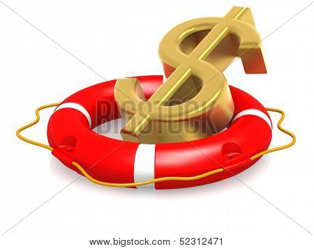 Life buoy with dollar sign