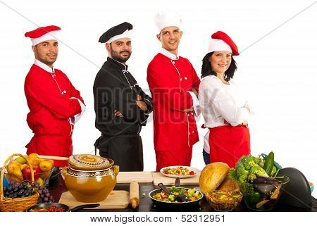 Team Of Four Chefs