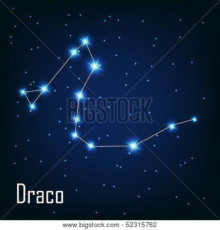 "The constellation "" Draco"" star in the night sky. Vector illustr"