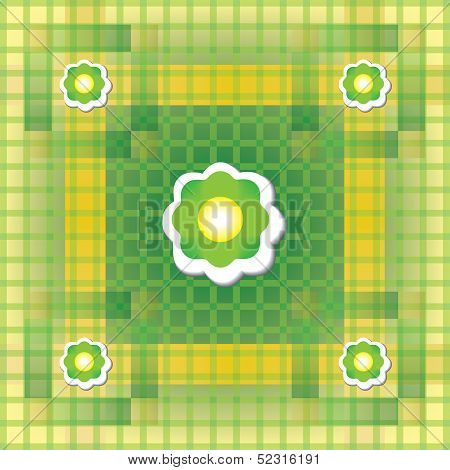 Seamless green and yellow pattern with flower