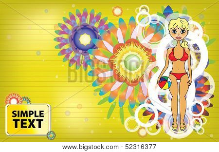 Tropical beach party background with circles and tan girl