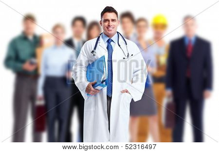 Doctor and a group of workers. Job safety.