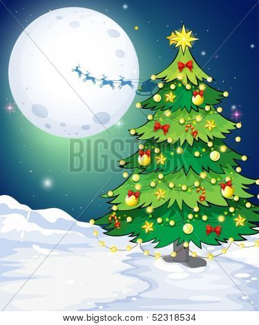 Illustration of a tall christmas tree standing in a snowy area