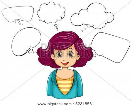 Illustration of a smiling woman with many empty callouts on a white background