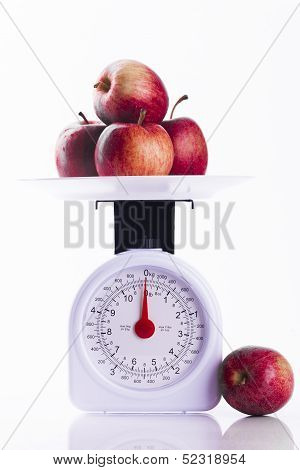 Four Red Apples On Weighing Scales Portrait Format