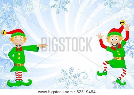 Blue Christmas Background With Elves