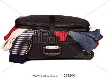 Overstuffed Baggage Isolated