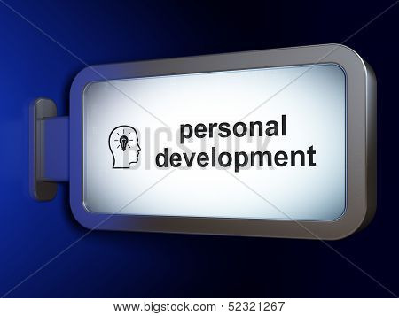 Education concept: Personal Development and Head With Lightbulb