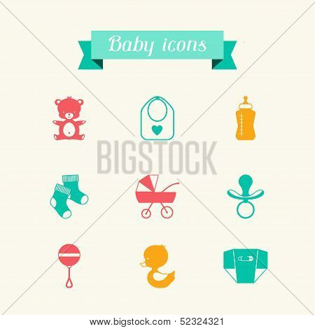 Newborn baby icons set in flat design style.