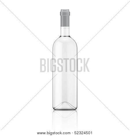 Transparent wine bottle.