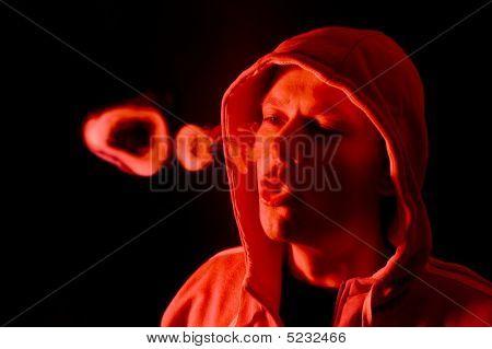Red Lit Smoke Rings