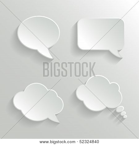 Abstract White Speech Bubbles Set
