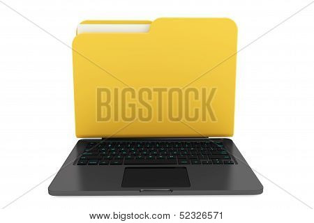 Laptop Computer With Folder As Screen