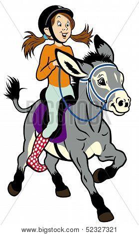 Cartoon Girl With Donkey