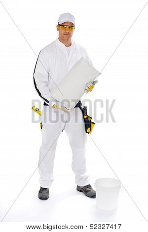 Construction worker mix adhesive