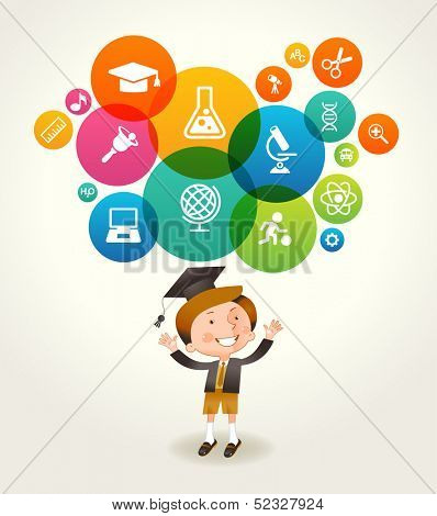 Concept of education. The generation of knowledge. Child and Icons of Science. File is saved in EPS 10 version. This illustration contains a transparency
