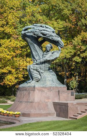 Autumn In Lazienki Park With Monument Of Friderick Chopin, Warsaw