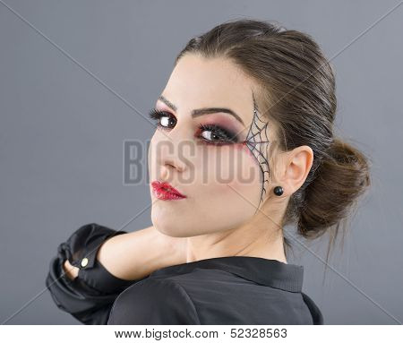 beauty portrait of young glamour beautiful halloween woman