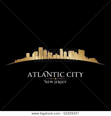 Atlantic City New Jersey Skyline Silhouette Black Background