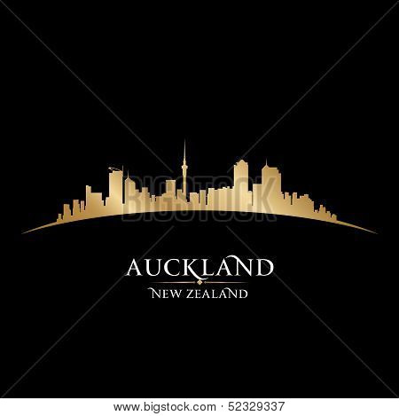 Auckland New Zealand City Silhouette Black Background