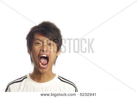 Asian man shouting out loud