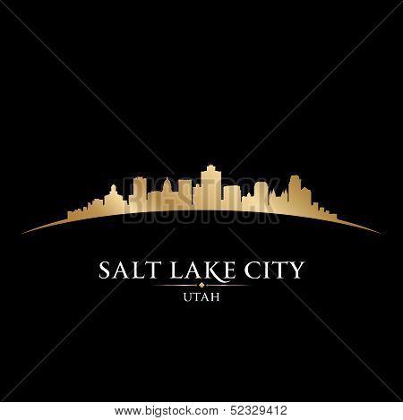 Salt Lake City Utah Silhouette Black Background