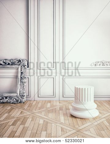 classic decorate wall with column pedestal