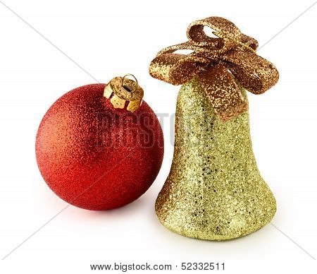 Christmas Ball And Bell Isolated