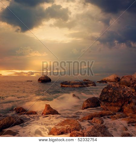 Seascape At Sunrise Time