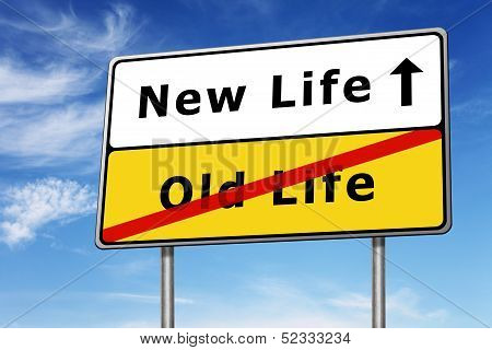 New Life Road Sign Concept Image