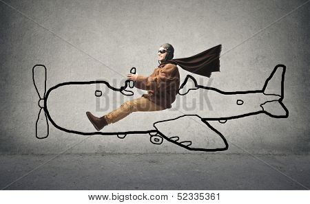 aviator flying with a designed airplane