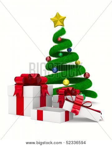 Christmas tree and gift box on white. Isolated 3d image