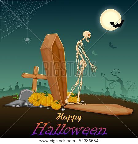illustration of skelton coming out of coffin in Halloween night