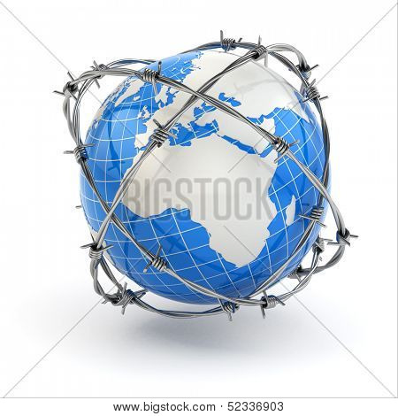 Earth and barbed wire. Conceptual image. 3d